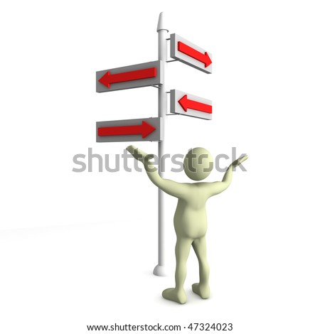 3d render of a humanoid standing infront of some confusing directions. If you like this image, please see similar ones in my portfolio.