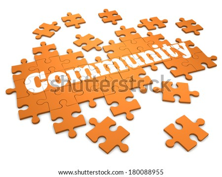3d render of a jigsaw puzzle with community design - stock photo