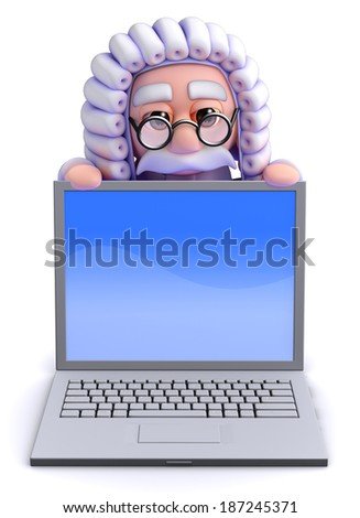 3d render of a judge looking over a laptop