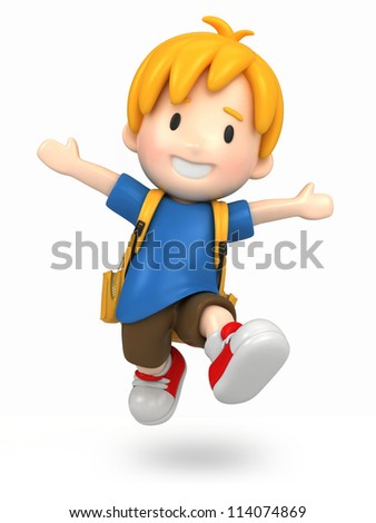 3d render of a jumpi boy with backpack - stock photo
