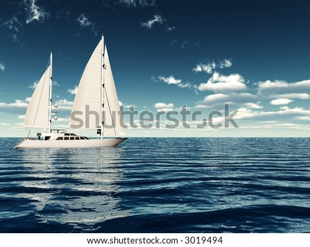 3d render of a ketch sailing in a sunny day - stock photo