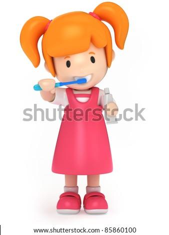 3D Render of a kid brushing her teeth - stock photo