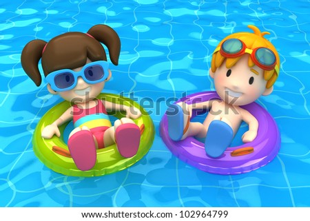 3d render of a kids floating with inflatable ring