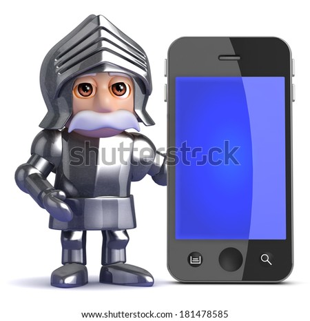 3d render of a knight standing next to a smart phone - stock photo
