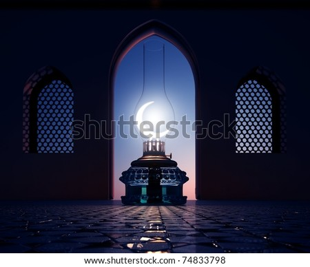 3D render of a lantern with windows - stock photo
