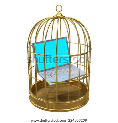 3d render of a laptop pc trapped in a birdcage - stock photo