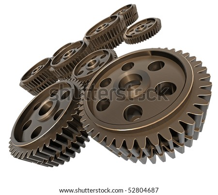 3d Render of a large group of gears.