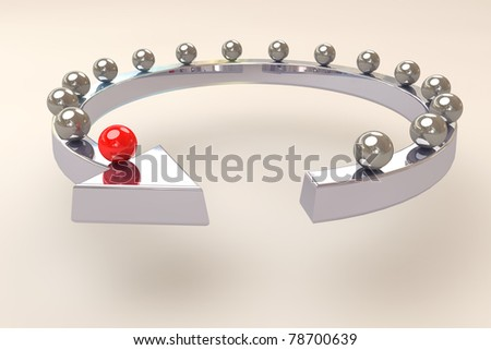 3d render of a leadership concept with a arrow - stock photo