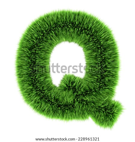 3d render of a letter Q made of grass