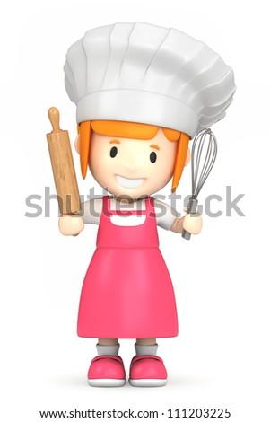 3d render of a little baker - stock photo