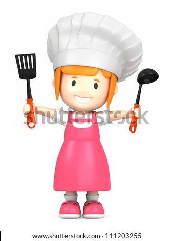 3d render of a little chef - stock photo