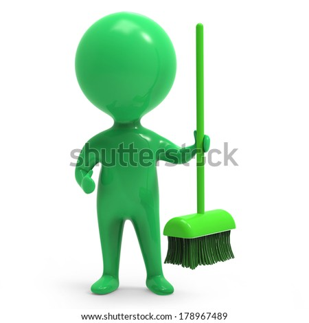 3d render of a little green person with broom