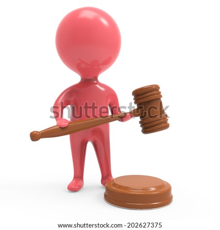 3d render of a little man in red holding an auctioneer gavel