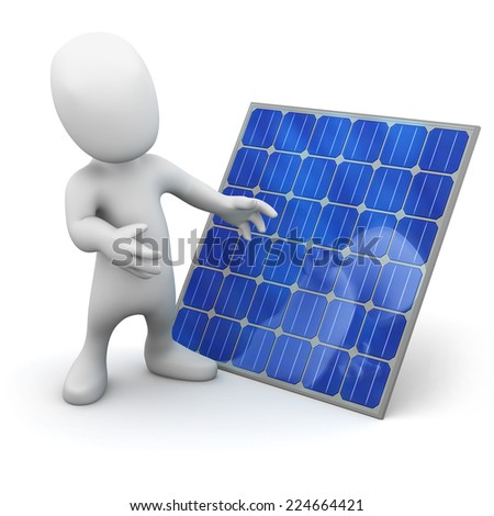 3d render of a little man next to a solar panel - stock photo
