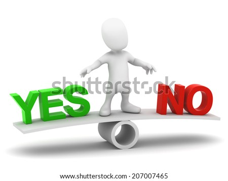 3d render of a little man on a seesaw with the words Yes and No balanced - stock photo