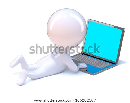 3d render of a little person lying down and using a laptop