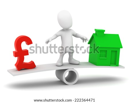 3d render of a little person on a seesaw balancing the UK Pounds Sterling symbol and a green house - stock photo