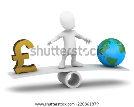3d render of a little person on a seesaw balancing UK Pounds Sterling currency symbol and a globe of the Earth - stock photo