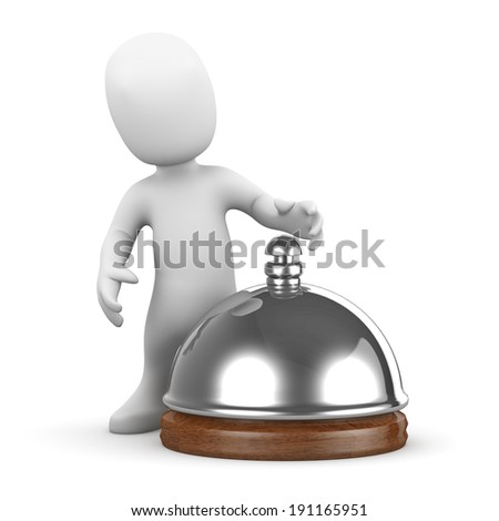 3d render of a little person ringing a hotel reception bell - stock photo