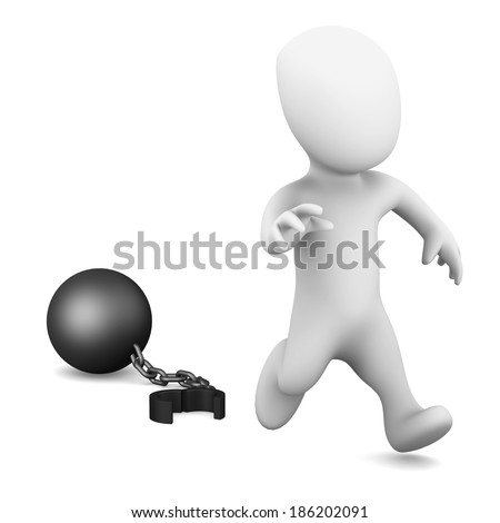 3d render of a little person running from a ball and chain