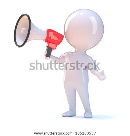 3d render of a little person shouting through a megaphone