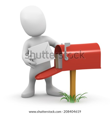 3d render of a little person taking mail from his inbox - stock photo
