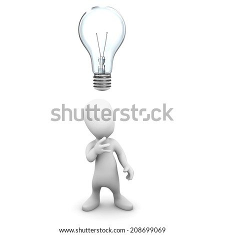 3d render of a little person with a lightbulb over his head