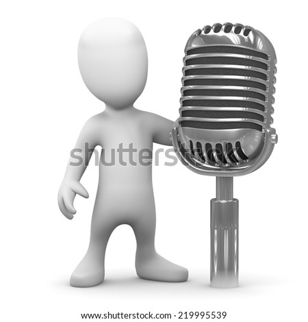 3d render of a little person with a retro microphone