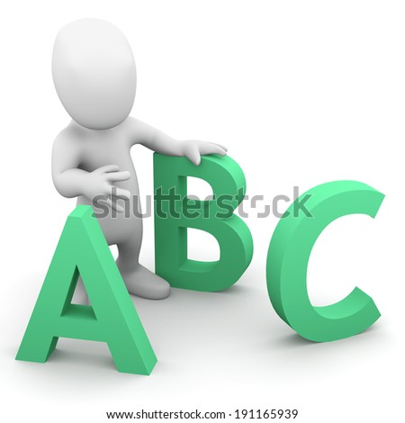 3d render of a little person with letters