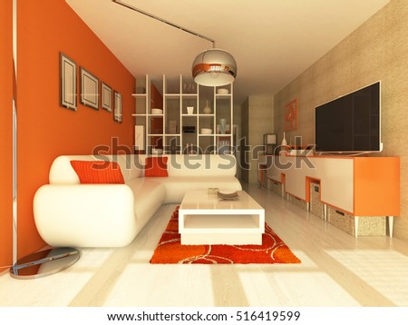 3D render of a Living room with orange wall