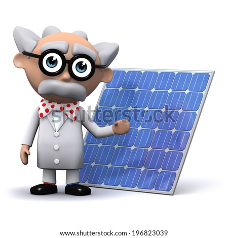3d render of a mad scientist next to a solar energy panel - stock photo