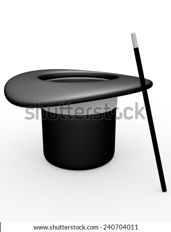 3d Render of a Magicians Hat - stock photo