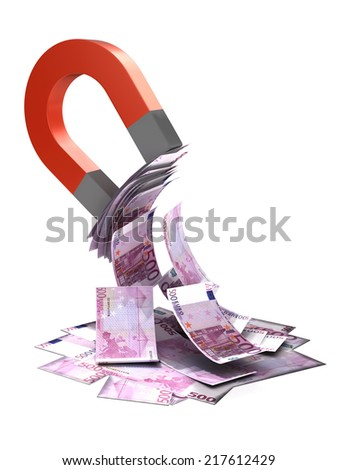 3d render of a magnet attracting Euro bank notes - stock photo