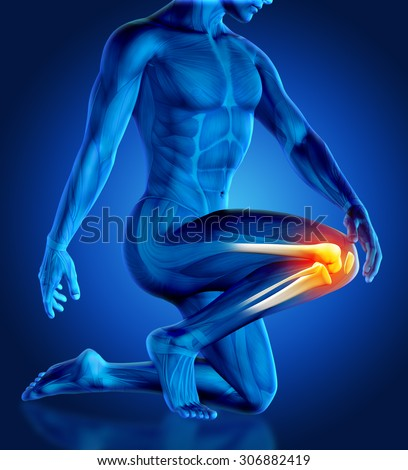 3D render of a male figure holding his knee in pain with partial skeleton - stock photo