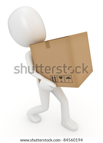 3D render of a man carrying a box - stock photo