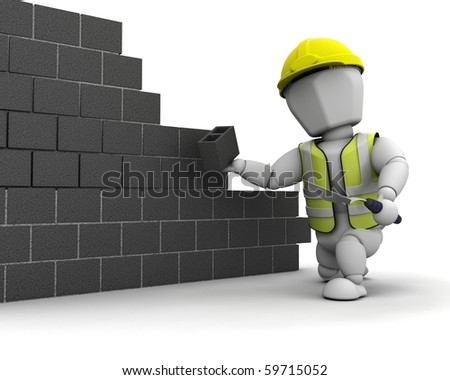 3D render of a man laying blocks building a wall - stock photo