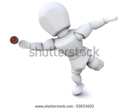 3d render of a man playing cricket - stock photo