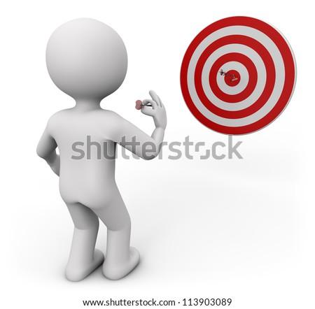 3d render of a man shooting darts - stock photo