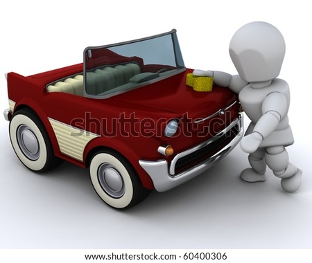 3D render of  a man washing a car - stock photo