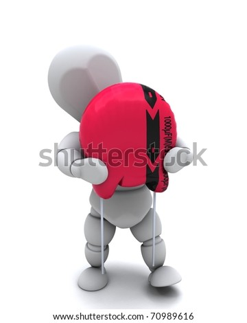 3D Render of a Man With A Capacitor - stock photo