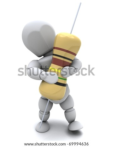 3D Render of a Man With A Resistor - stock photo