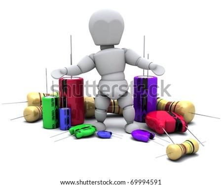 3D Render of a Man With Capacitors Resistors and semi-conductors - stock photo