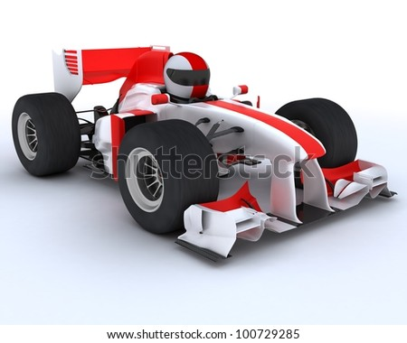 3D render of a man with race car - stock photo