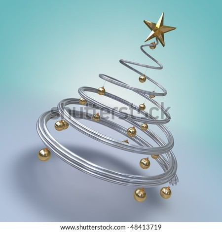 3d render of a metallic spiral modern tree with golden balls and a star - stock photo