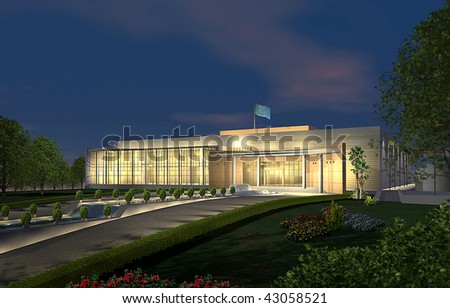3D render of a modern building