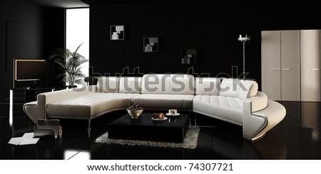 3d render of a modern interior design - stock photo