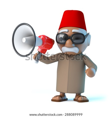 3d render of a Moroccan with a megaphone