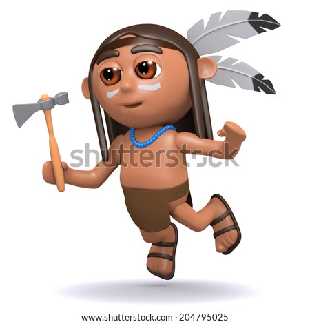 3d render of a Native American Indian boy leaps through the air