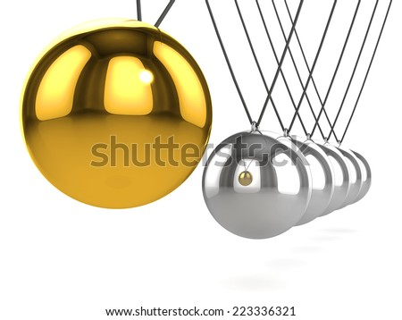 3d render of a Newtons Cradle with gold ball - stock photo