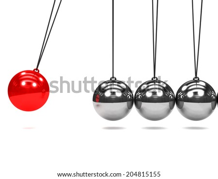 3d render of a Newtons Cradle with one red ball in motion - stock photo